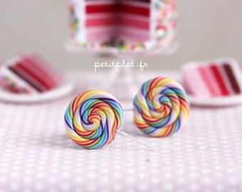 Rainbow Lollipop Earrings - Candy Collection - Food Jewelry