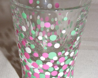Green, pink and white hand painted shot glass