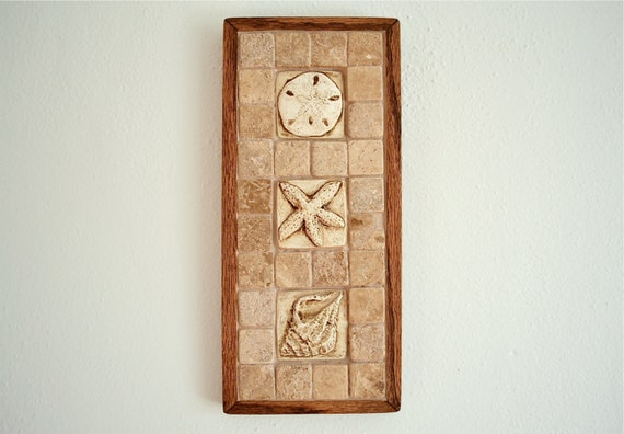 Framed Seashell Bas Relief Art Tile Shell Wall By TheCottageCheese