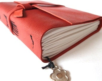 Personalised Leather Journal, Hot Red