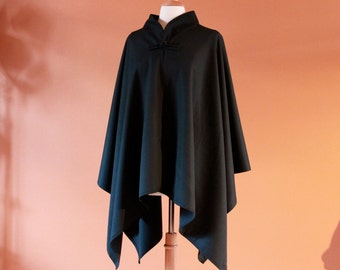 wool gab chipao collar cape made to order free size fit plus limited edition