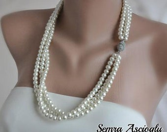 Ivory  Layered Pearl,  Glass Pearl  Necklace with Rhinestone Clasp brides bridesmaids