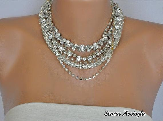 Chunky Layered Chunky Bold Necklace with Rhinestones brides bridesmaids