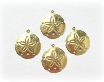 Raw Brass Sand Dollar Charms, 4 Pcs, Made in the USA