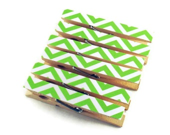 Altered Clothes Pins Decorative Clothespins  in Zig Zag Lime