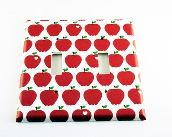 Light Switch Cover Red Apple Wall Decor Double  Switch Plate in Delicious (091D)