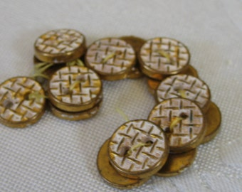 Set of 15 VINTAGE Small Metalized Gold & White Painted Plastic BUTTONS