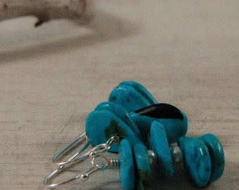 Blue Turquoise Pearl Earrings Sleeping Beauty Turquoise Sterling Silver