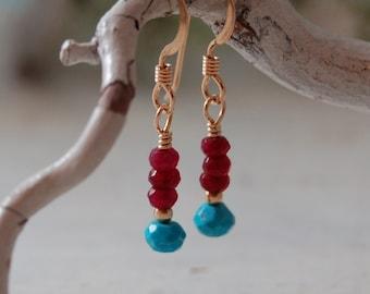 Ruby Earrings Sleeping Beauty Turquoise Earrings  AZ Turquoise Gold filled Earrings