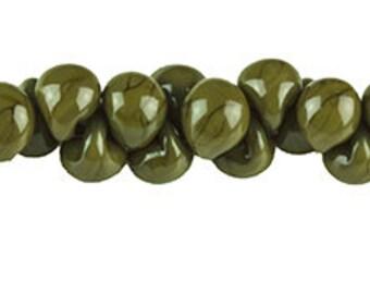 10 Handmade Teardrop Lampwork Glass 13 mm Boro Beads, King Cobra (22728).