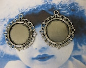 Round Fancy Silver Ox Plated Bezel Tray 2092SIL x2