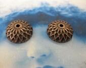 Copper Ox PLated Acorn Bead Caps 1161COP  x2