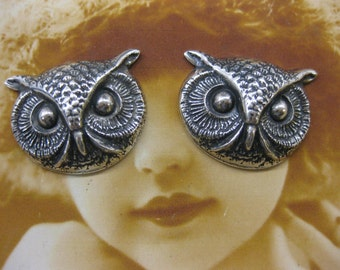 Silver Ox Plated  Owl Head Stampings 294SOX x2