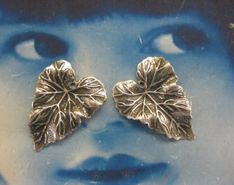 Sterling Silver Ox Plated Brass Ivy Leaf Stampings 2244SOX  x2