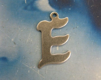 Silver Ox Plated Small  Fancy Script Charms Letter E 2012SOX x1