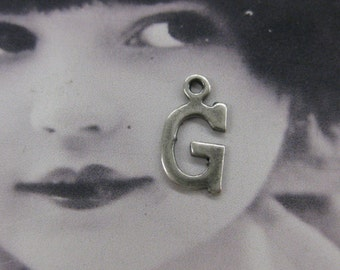 Silver Ox Plated Small Varsity Font Charms Letter G 622SOX x1