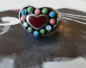 Heart Shaped Sterling Silver Enamel and Stone Ring sz 6.5  Valentines Day
