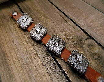 ON SALE- Bronc, Western Cowgirl Rodeo Southwestern Boho Leather Concho Cuff Bracelet