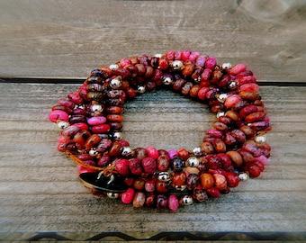 ON SALE- Pink Tides, Western Cowgirl Southwestern Boho Pink Agate Gemstone Wrap Bracelet