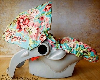 Infant Car Seat Cover, Baby Car Seat Cover in Bliss Bouquet ALL Cotton, no Minky