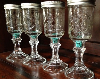 Four Mason Jar Wine Glass with Organic Turquoise Stones