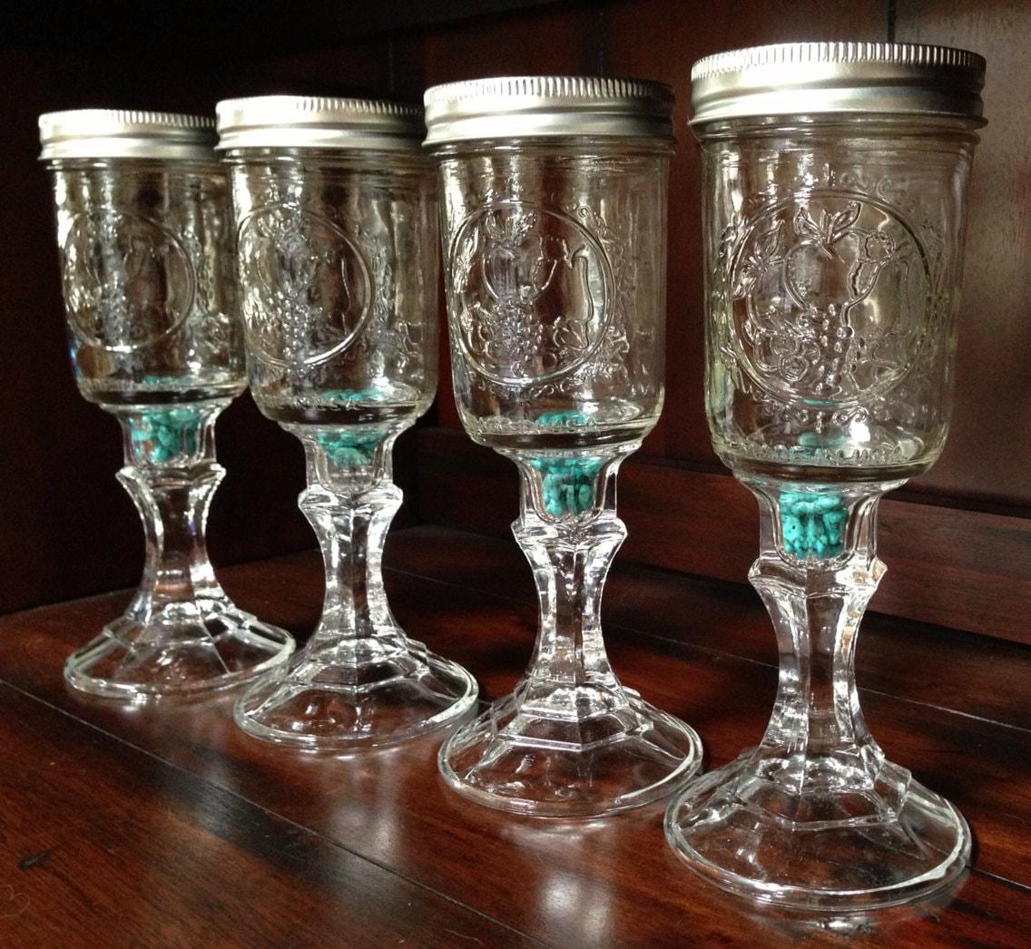 Four mason jar wine glass with organic turquoise stones - Stemmed mason jars ...