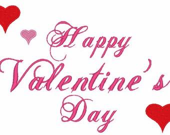 Happy Valentine's Day Machine Embroidery Design