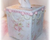 New Lt PInk Shabby Roses Fabric TISSUE COVER for Square Tissue Box Draped Pearls