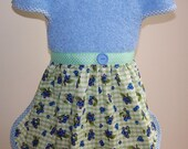 Blueberry Bib Apron Skirt with Blue Check Binding