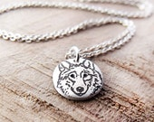 Tiny Wolf necklace, silver eco friendly wolf pendant, wolf jewelry, gift for her, daughter gift, coworker gift, gift for mom, gift for wife