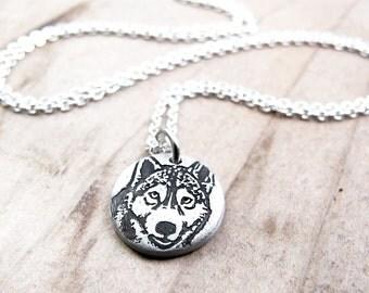 Tiny Husky necklace, silver dog pendant, Husky jewelry, eco friendly dog jewelry