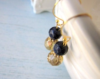 Earrings Blue Goldsotne and Gold Czech Crystal FREE SHIPPING