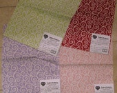 Pindler Mod Scroll Tarascan Toile Pattern Fabric Samples LOT 4 pieces