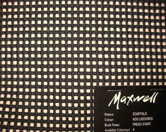 Maxwell Scaffold Window Pane Designer FABRIC SAMPLE Black Ivory