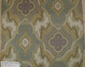 Caribe Aqua Tile Medallion Paisley Designer Fabric Sample Duralee Tapestry Pastel