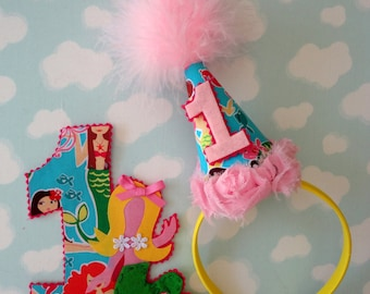 Mermaid Party Hat Headband and Iron on DEAL for birthday 1 2 3 4 5 6 7 8 9
