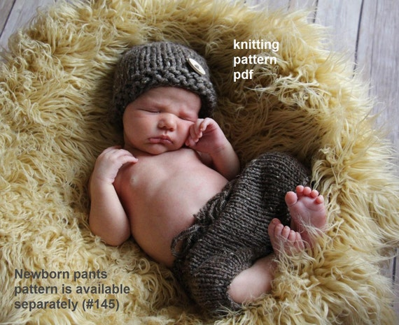 Two Hat Patterns in One -- Chunky Newsboy and Button Beanie Knitting Pattern PDF Number 125 -- INSTANT DOWNLOAD -- Newborn Size Only