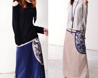Peony Pavilion - patchwork long skirt (Q1011)