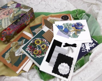 8 Handmade Collaged Note Cards in Handmade Collaged Art Box - Bargain - Was 19.95
