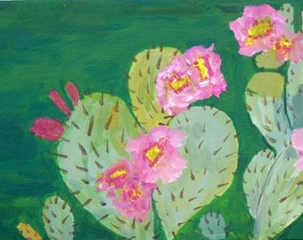 Painting on wood, roses, cactus, Green Desert