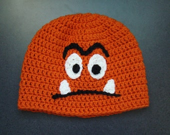 Goomba inspired Crochet beanie hat , super mario brothers, adult size, classic video gaming
