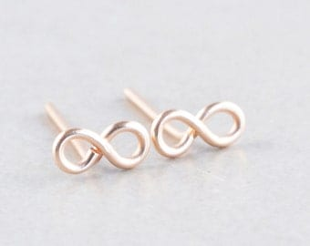 Infinity Stud Earrings, Tiny Rose Gold Posts, Sterling Studs, Gold Infinity, Bridesmaid Gift