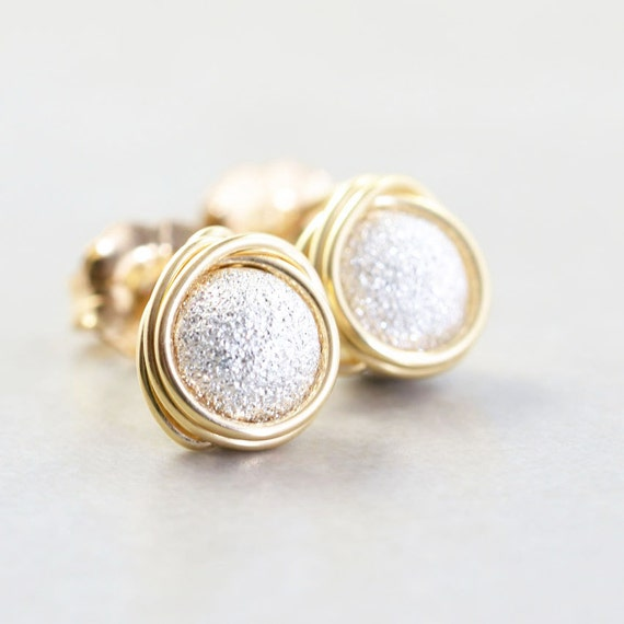 Silver Gold Studs, Glitter Dust Post Earrings, Metallic Posts, Bridesmaid Gift