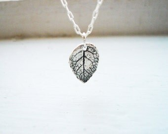 Tiny Rustic Leaf Necklace in Sterling Silver - Little Textured Sterling Silver Leaf Necklace. Tiny Leaf Necklace. Rose Leaf Necklace.