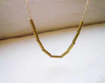 Tiny Tubes Necklace in Brass and Gold Filled - Simple Dainty Geometric Necklace, Tiny Gold Vintage Tube Bead Necklace