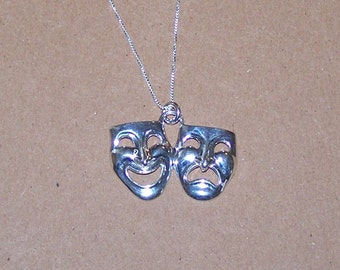 Sterling COMEDY & TRAGEDY Pendant with 20 Inch Chain - Arts, Theatre