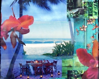 GLASSED, Come Away With Me, 4x4 and Up, re-collaged, hand-painted and glassed on wood panel, orchids, tropical, custom made