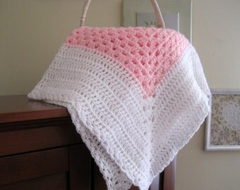 Crochet Baby Blanket, Baby Girl Blanket, Newborn Girl Blanket, Crochet Infant Blanket, Pink and White, Baby Afghan, Ready to Ship