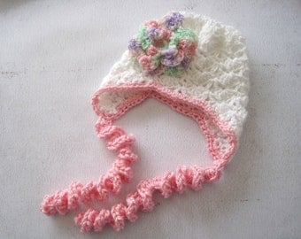 Crochet Baby Girl Bonnet with Flower, Newborn Girl Hat, Infant Girl Coming Home Hat, Easter Baby Bonnet, Newborn Hat with Ties