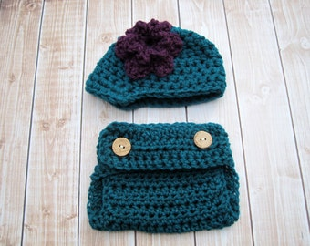 Crochet Baby Hat and Diaper Cover, Baby Diaper Cover, Baby Girl Hat, Girl Newsboy Hat, Infant Hat, Newborn Hat, Photo Prop, Teal